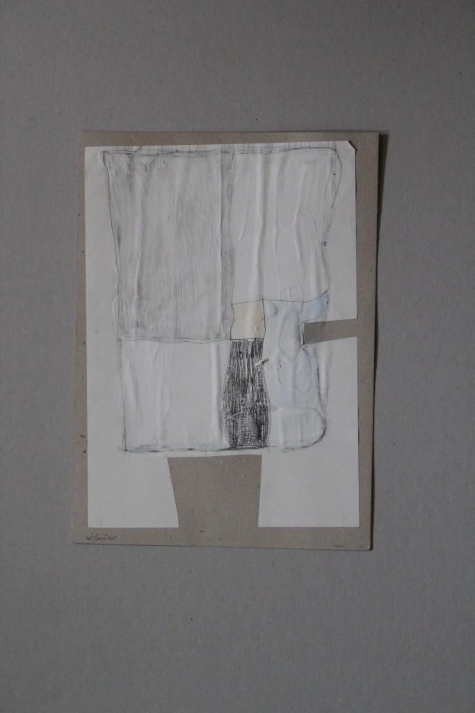 Flächenaufteilung, Tusche/Bleistift auf Papier, auf Karton, 80-er Jahre, 23 x 32