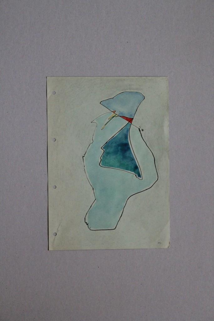 maritim, Tusche/Gouache auf Papier, 1982, 21 x 29,7