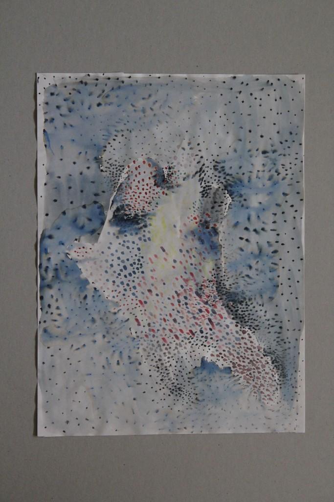 im Schneegestöber, Gouache auf papier, 1982, 29,5 x 39,5