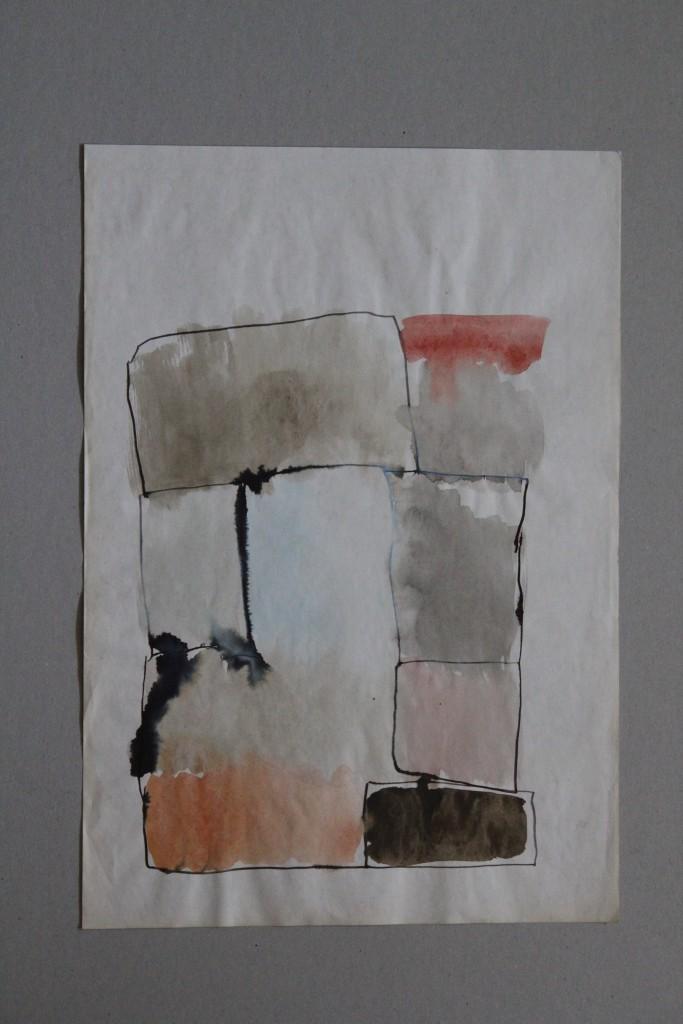 Garten, Tusche/Gouache auf Papier, 80-er Jahre, 29 x 41,5