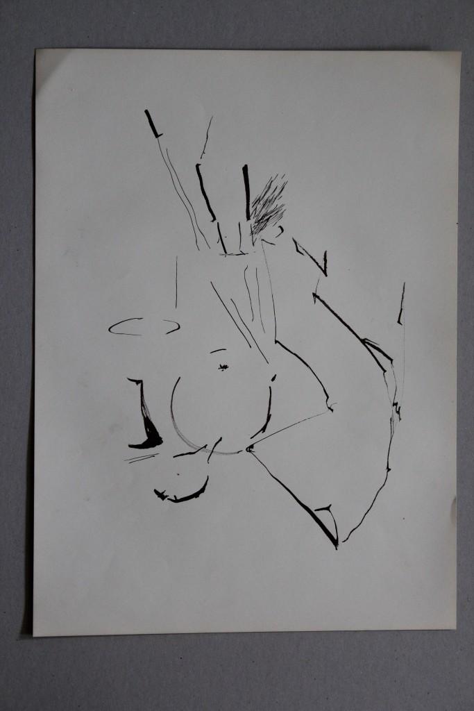 Stillleben, Rohrfeder/Tusche auf Papier, 80-er Jahre, 33 x 45