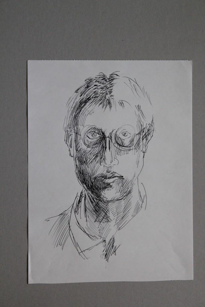 Selbst, Feder/Tusche auf Papier, 80-er Jahre, 29,7 x 39,7