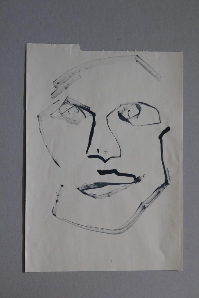 Gesicht, Feder/Tusche auf Papier, 80-er Jahre, 29 x 40,5