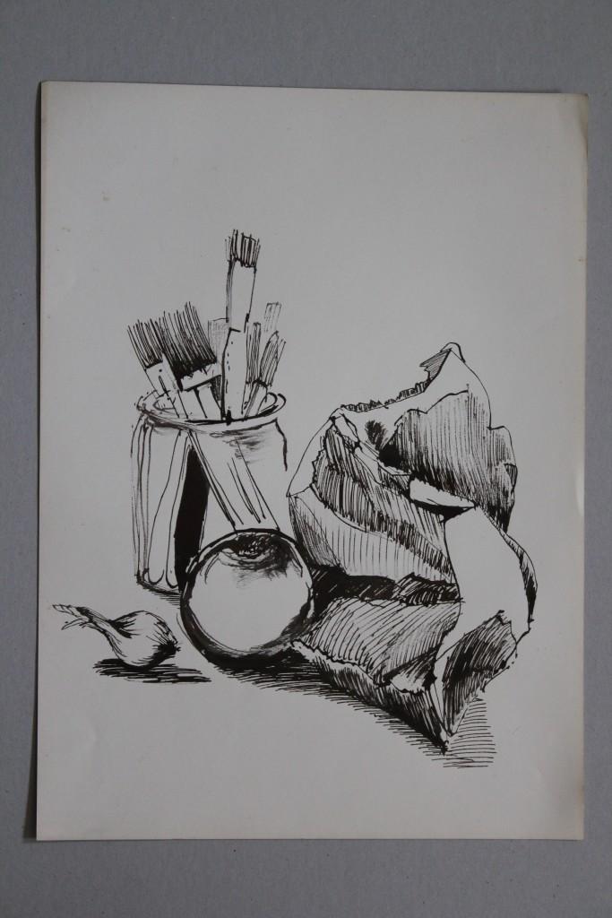 Stillleben, Rohrfeder/Tinte auf Papier, 80-er Jahre, 33 x 45