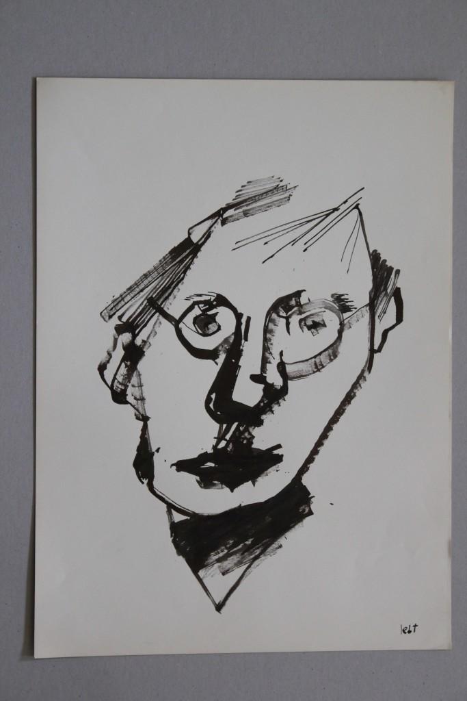 Selbst (lebt), Rohrfeder/Tinte auf Papier, 80-er Jahre, 33 x 45