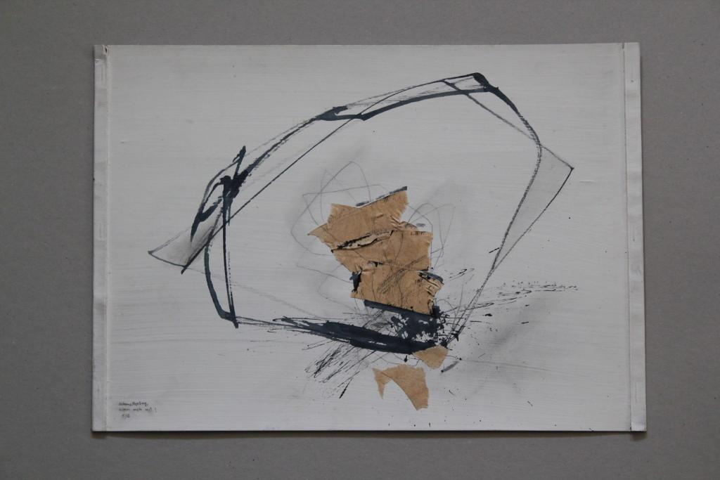Informel (Schmetterling), Rohrfeder/Tusche/Krepp auf Graupappe, 1983, 42 x 29,7