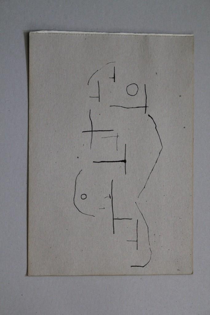 Feldzeichen, Tusche auf Graupappe, 1982, 29,7 x 42
