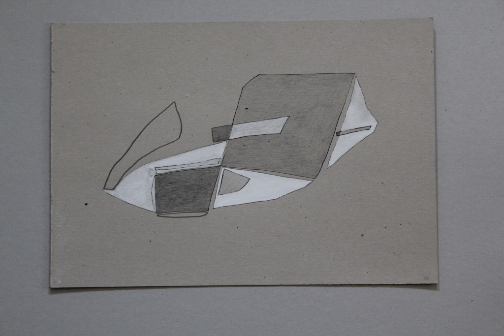 Mondfahrzeug, Bleistift/Tusche/Dispersion auf Graupappe, 1983, 42 x 29,7