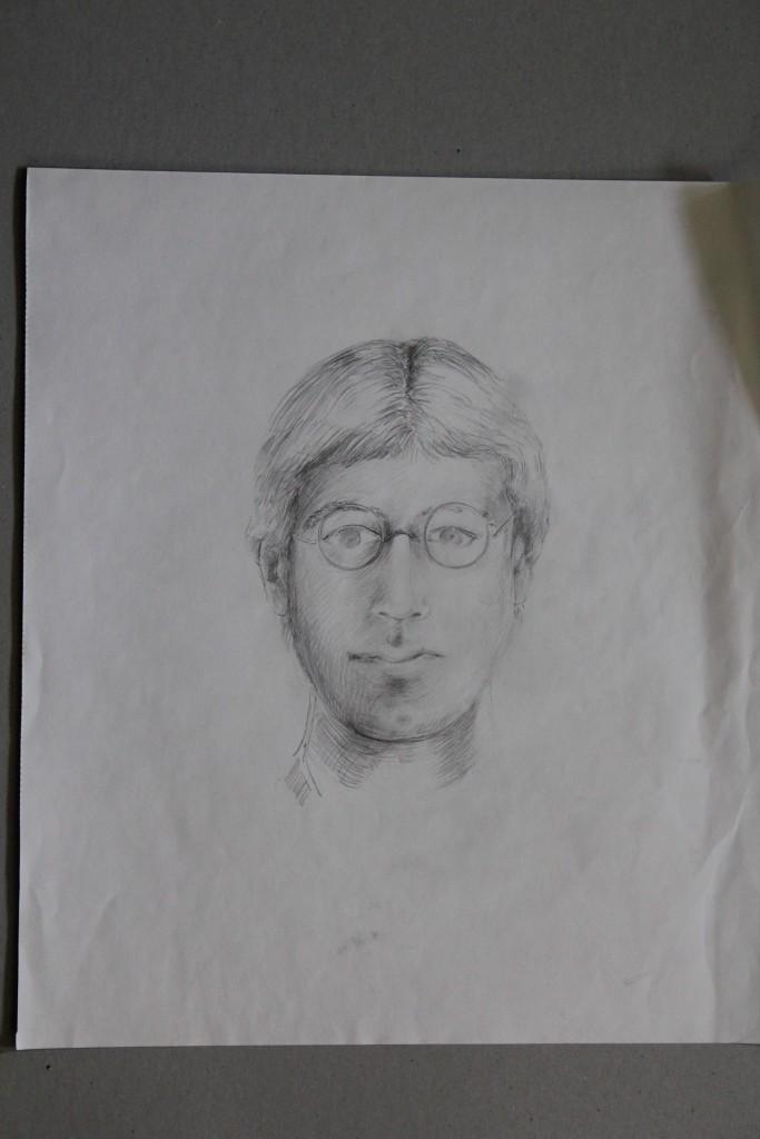 Selbstportrait, Bleistift auf Papier, 80-er Jahre, 37,5 x 42