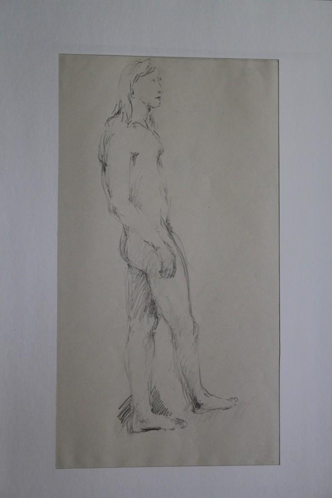 männlicher Akt, Bleistift auf Papier, Ende 70-er Jahre, 25 x 45,5