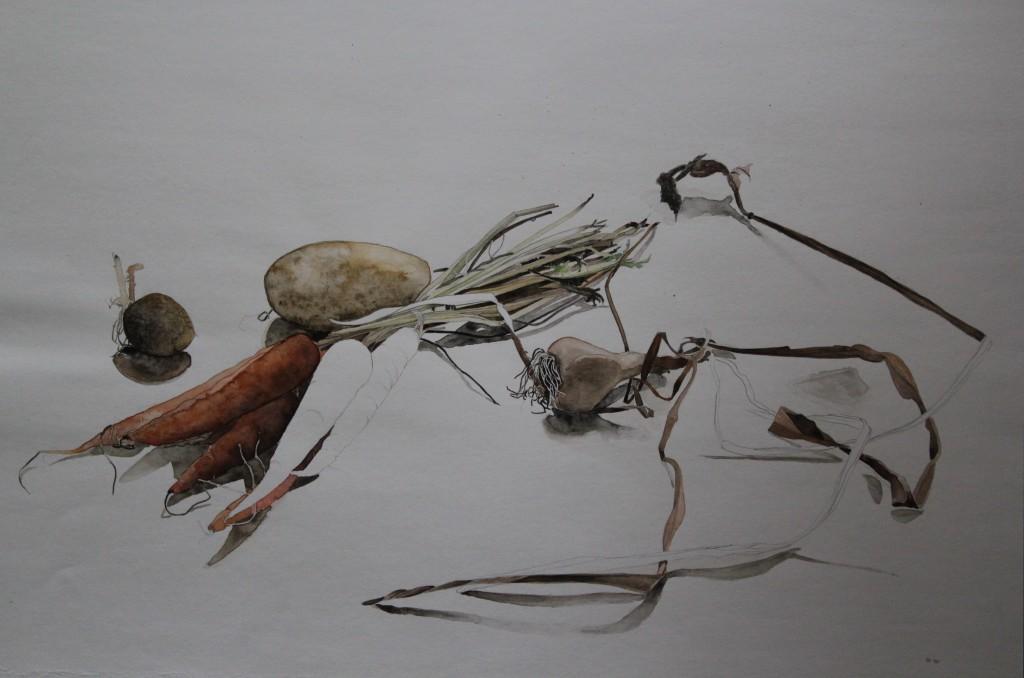 Stillleben Gemüse, Bleistift, Aquarell auf Papier, 1981, 59 x 42