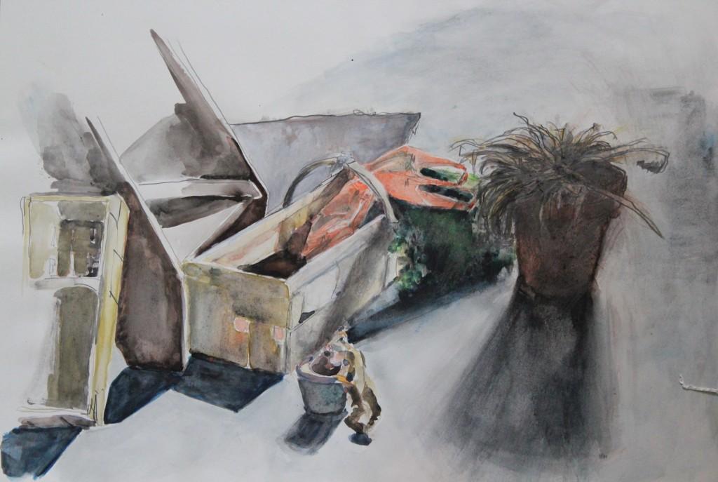 Stillleben mir Spankorb, Bleistift, Gouache auf Papier, Anfang 80-er Jahre, 56 x 42