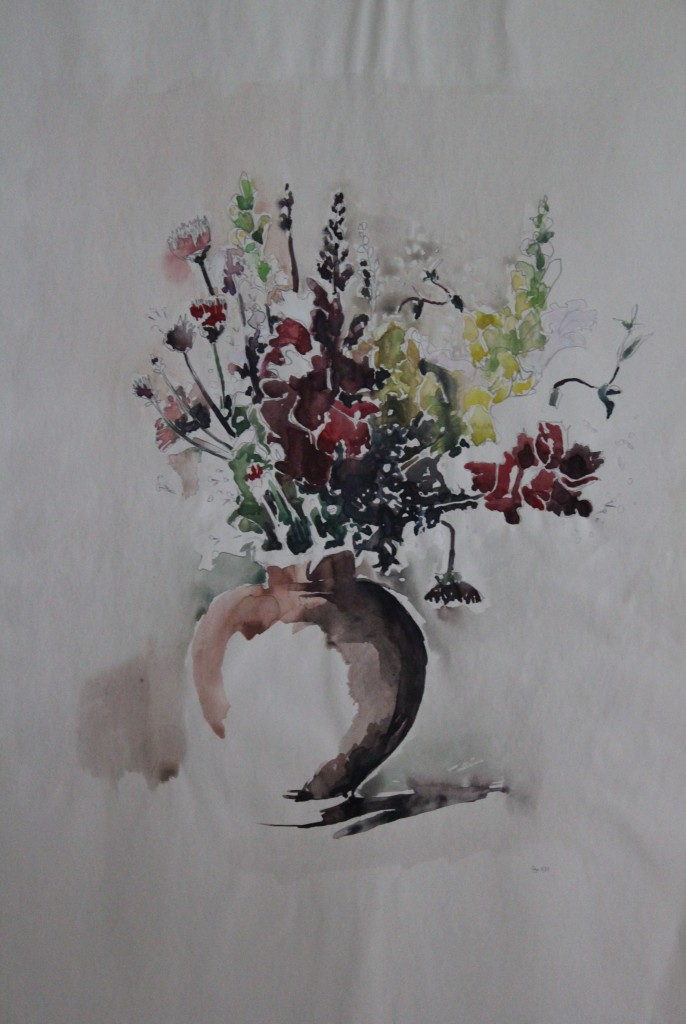 Blumen in Vase, Aquarell, 1981, 41 x 56