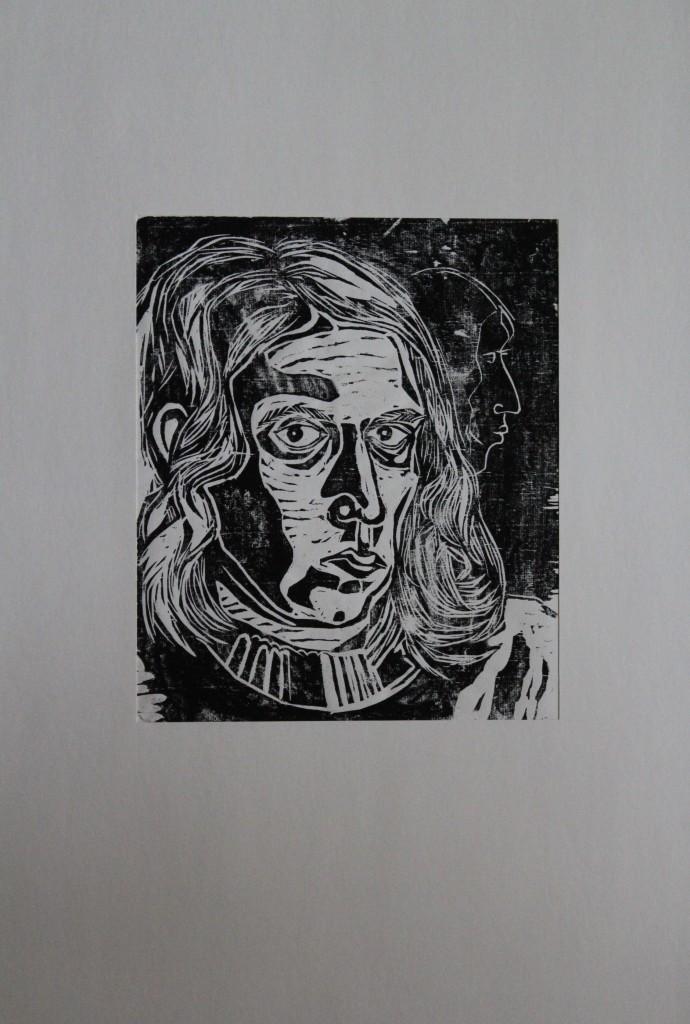 Selbst, Holzschnitt, Ende 70-er/Anfang 80-er Jahre, 22 x 26,5