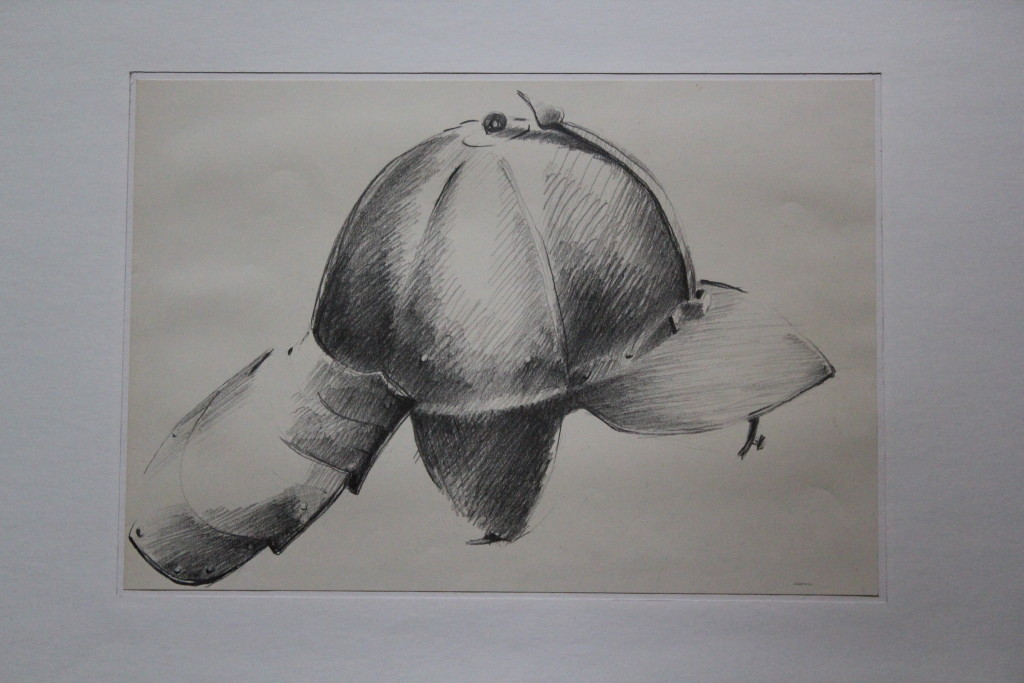 Helm, Bleistift auf Papier, Anfang 80-er Jahre, 41 x 28