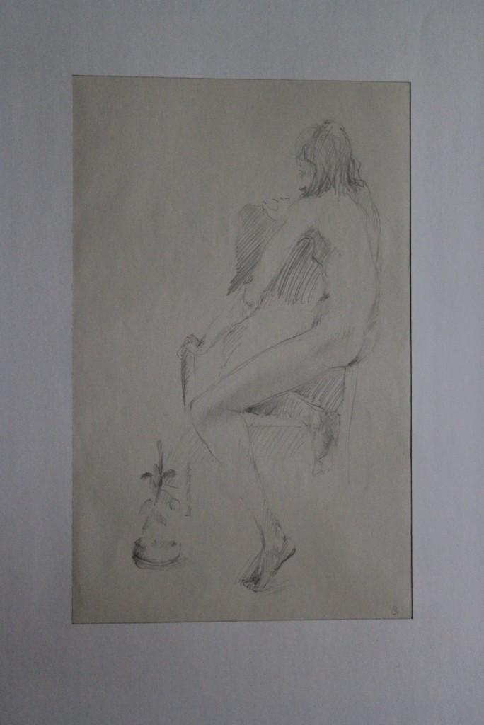 Akt mit Pflanze, Bleistift auf Papier, Anfang 80-er Jahre, 34,5 x 39