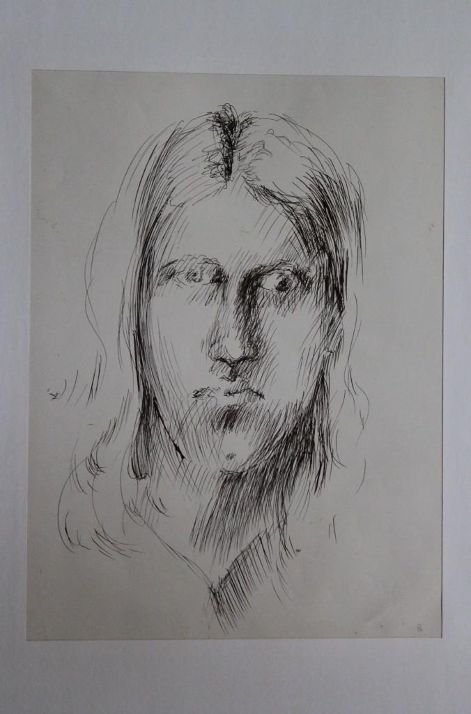 Selbst, Feder/Tinte auf Papier, 80-er Jahre, 31 x 49,5
