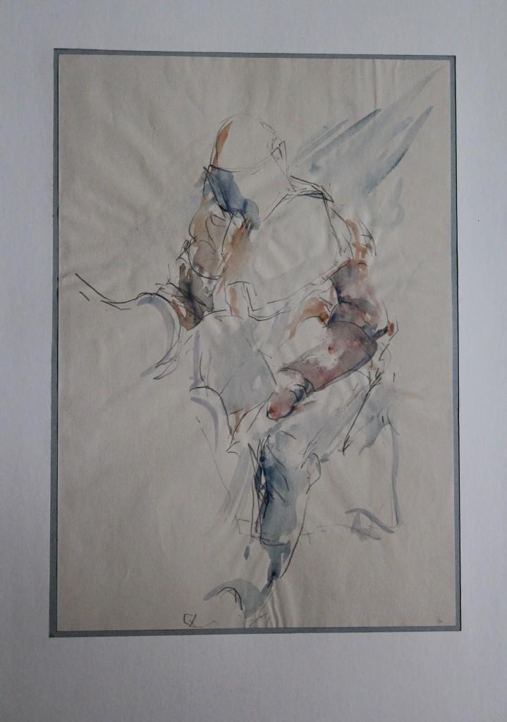 Ritter, Bleistift, Aquarell auf Papier, Anfang 80-er Jahre, 28 x 41