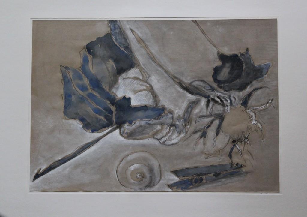 Stillleben Blätter, Bleistift, Gouache auf Papier, Anfang 80-er Jahre, 40,5 x 28,5