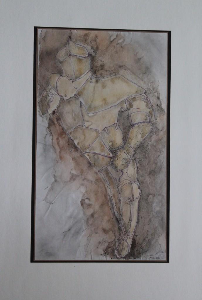 Ritter, Faserstift, Bleistift, Aquarell auf Papier, Anfang 80-er Jahre, 23 x 40