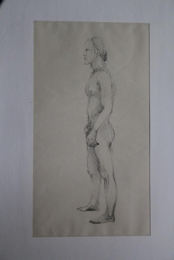 männlicher Akt, Bleistift auf Papier, Anfang 80-er Jahre, 25 x 45,5