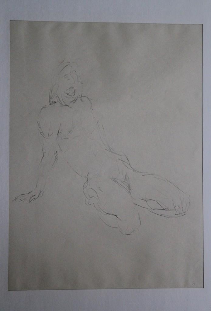 Akt, Bleistift auf Papier, Anfang 80-er Jahre, 32,5 x 45