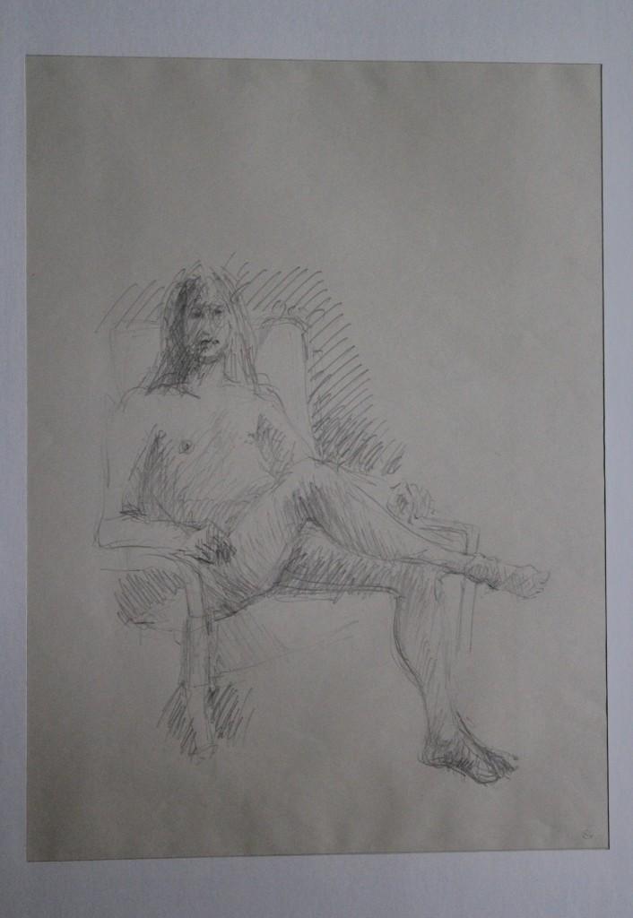 Akt, Bleistift auf Papier, Anfang 80-er Jahre, 33 x 45