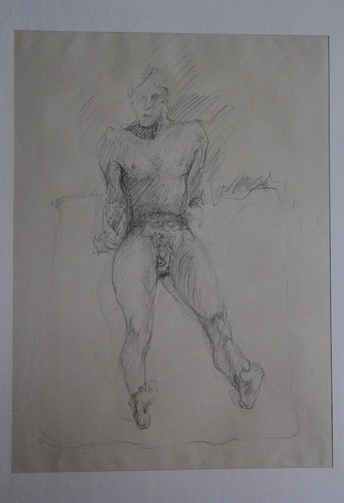 männlicher Akt, Bleistift auf Papier, Anfang 80-er Jahre, 33 x 45