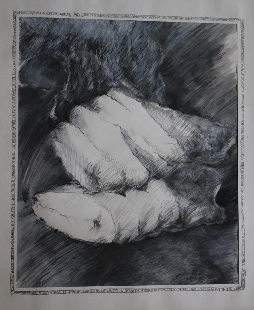 Stoffgebilde, Bleistift, Gouache auf Papier, Anfang 80-er Jahre, 41 x 49