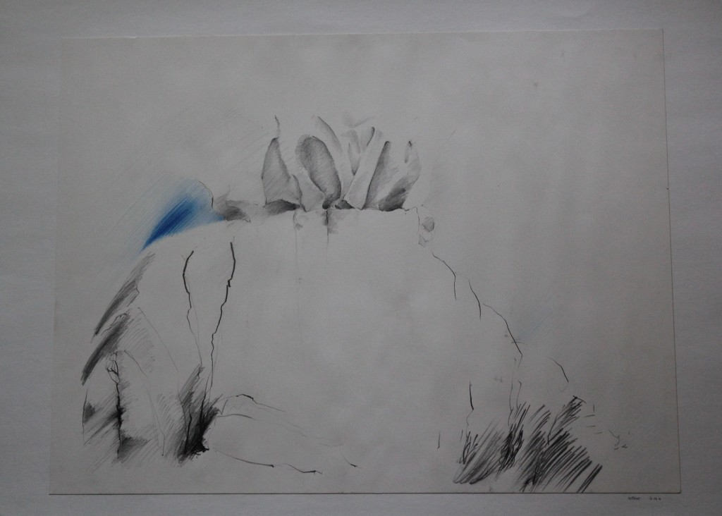 Stoffgebilde, Bleistift, Farbstift auf Papier, Anfang 80-er Jahre, 56 x 41,5