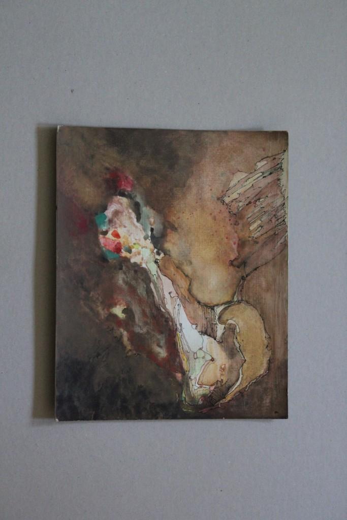 surreal-abstrakt, Feder/Tusche, Gouache auf Graupappe, 1982, 24,5 x 31