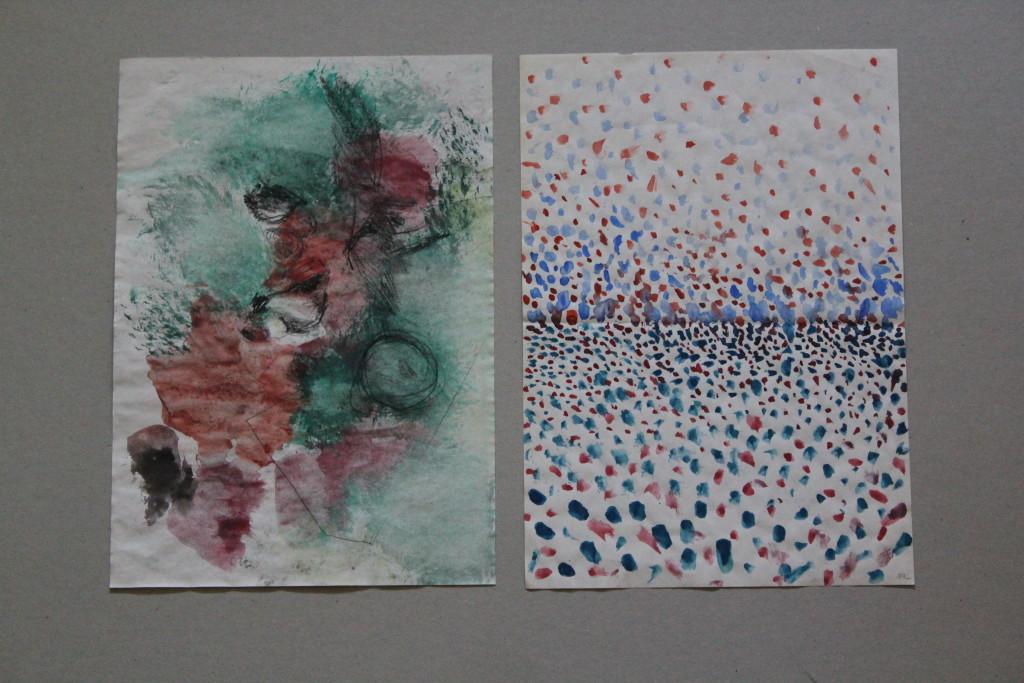 abstrakt/im Schneegestöber, Gouache auf Papier, Anfang 80-er Jahre, 20,5 x 29,5