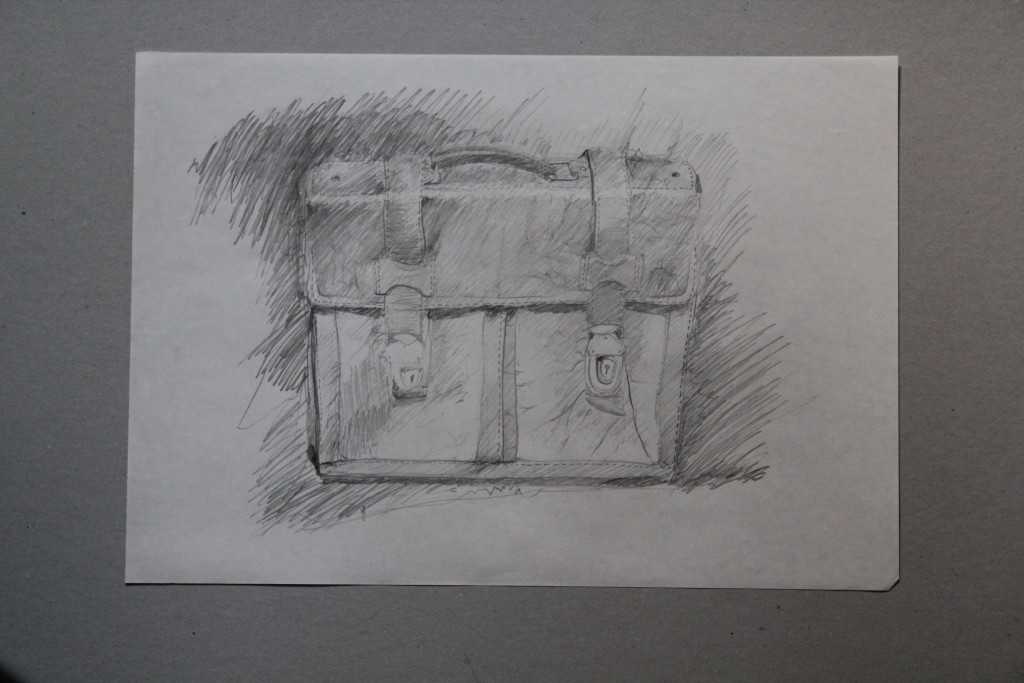 Schultaschen, Bleistift auf Papier, Anfang 80-er Jahre, 42 x 29