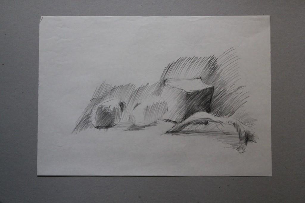 Steine, Bleistift auf Papier, Anfang 80-er Jahre, 42 x 29