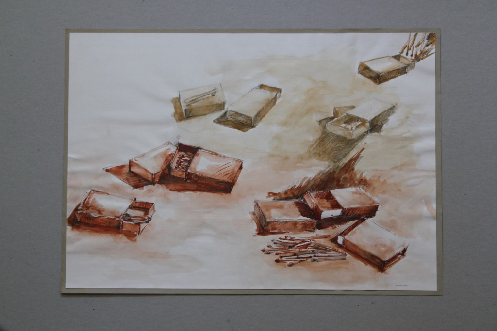 Streichholzschachteln, Sepia, Bister auf papier, Anfang 80-er Jahre, 40,5 x 28,5