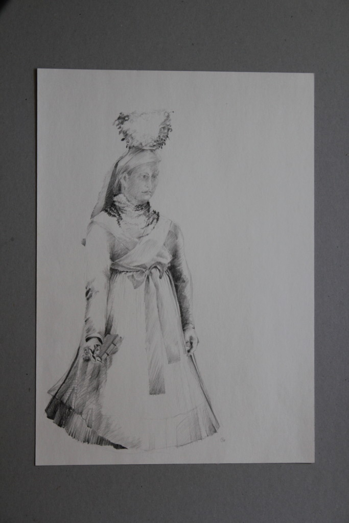 Tracht, Bleistift auf Papier, Anfang 80-er Jahre, 29,5 x 42
