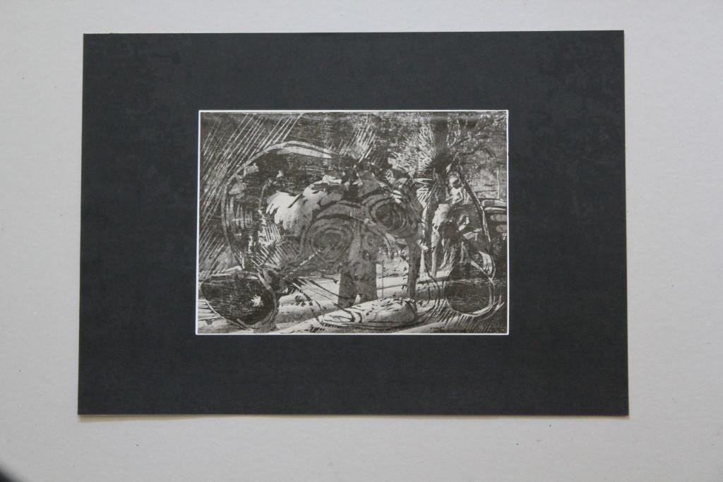 Holzschnitt-Überdruck, Anfang 80-er Jahre, 24 x 17,5