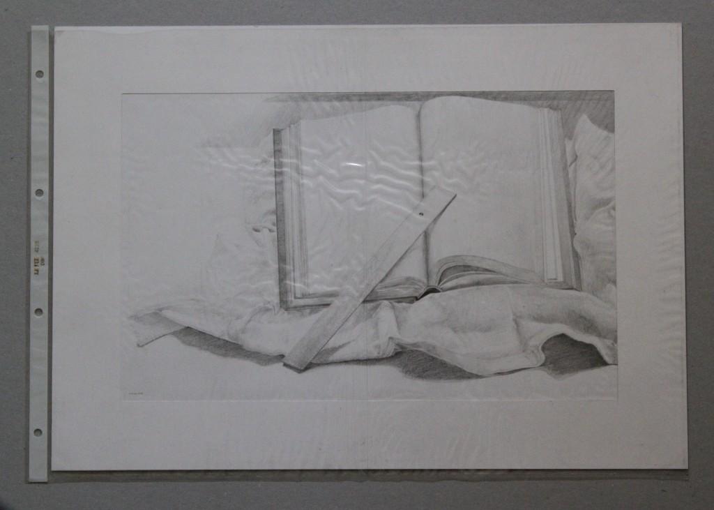 Buch, Lineal, Bleistift auf Papier, Anfang 80-er Jahre, 29,7 x 42