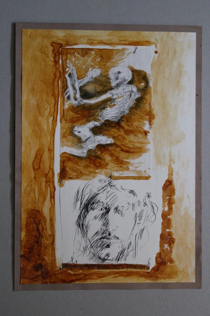 Selbst - nature morte, Feder/Tusche, Schellack auf Papier, 1981, 29,7 x 42