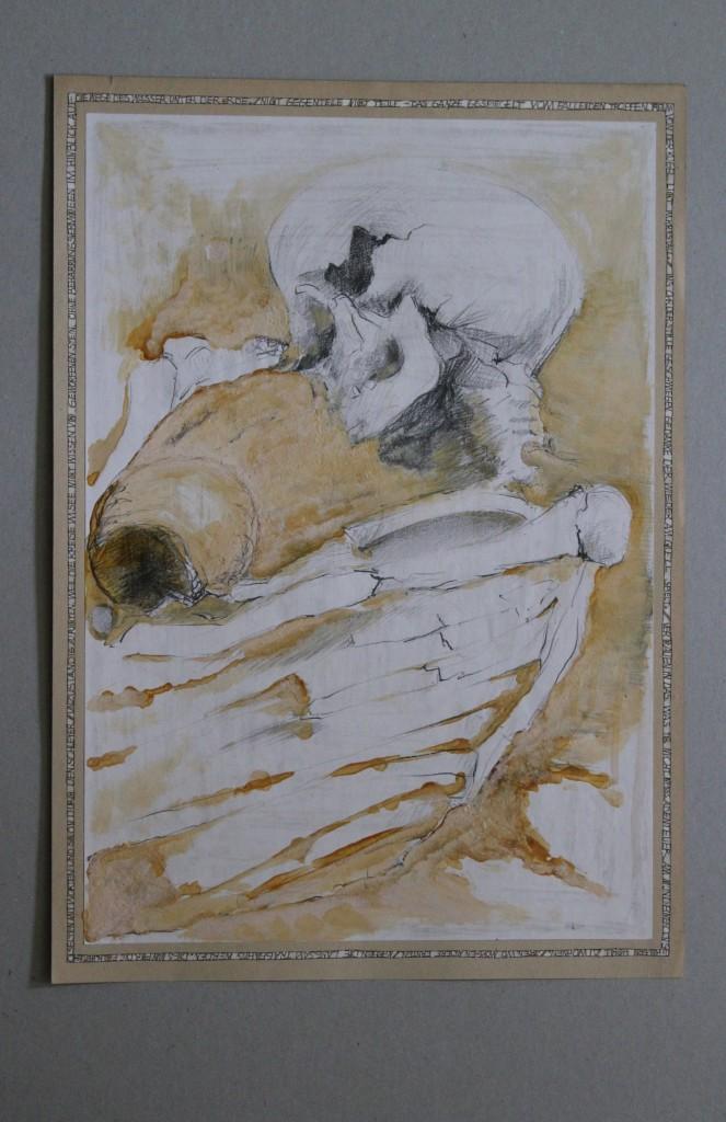Skelett, Bleistift, Schellack auf Papier, Anfang 80-er Jahre, 29,7 x 42