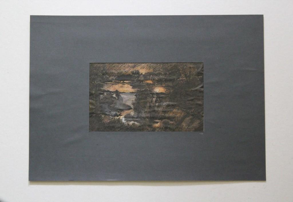 Landschaft, surreal, Feder/Tusche, Pigmente/Schellack auf Papier, 1981, 20,5 x 12,5