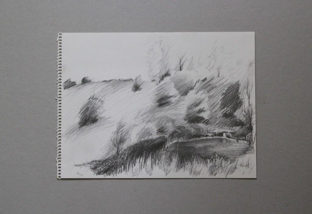 Skizze Weiher, Bleistift auf Papier, 1981, 32 x 24