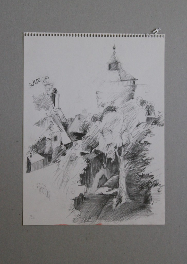 Skizze Nürnberg, Bleistift auf Papier, 1981, 24 x 32