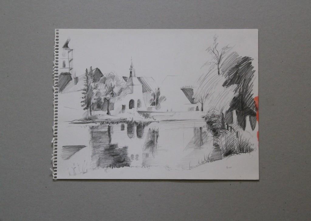 Skizze Vedute, Bleistift auf Papier, 1981, 32 x 24