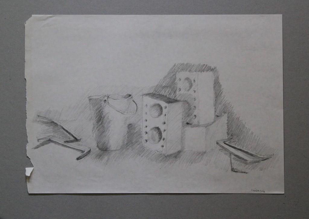 Steine, Kübel, Bleistift auf Papier, Anfang 80-er Jahre, 42 x 29,5