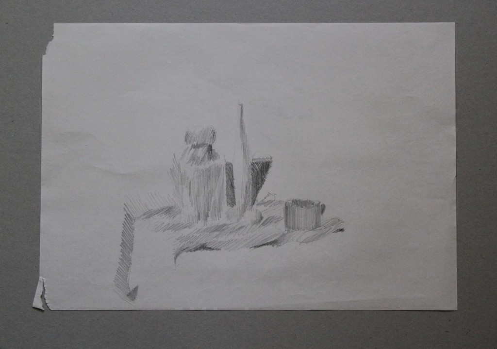 Stillleben, Bleistift auf Papier, Anfang 80-er Jahre, 42 x 29,5