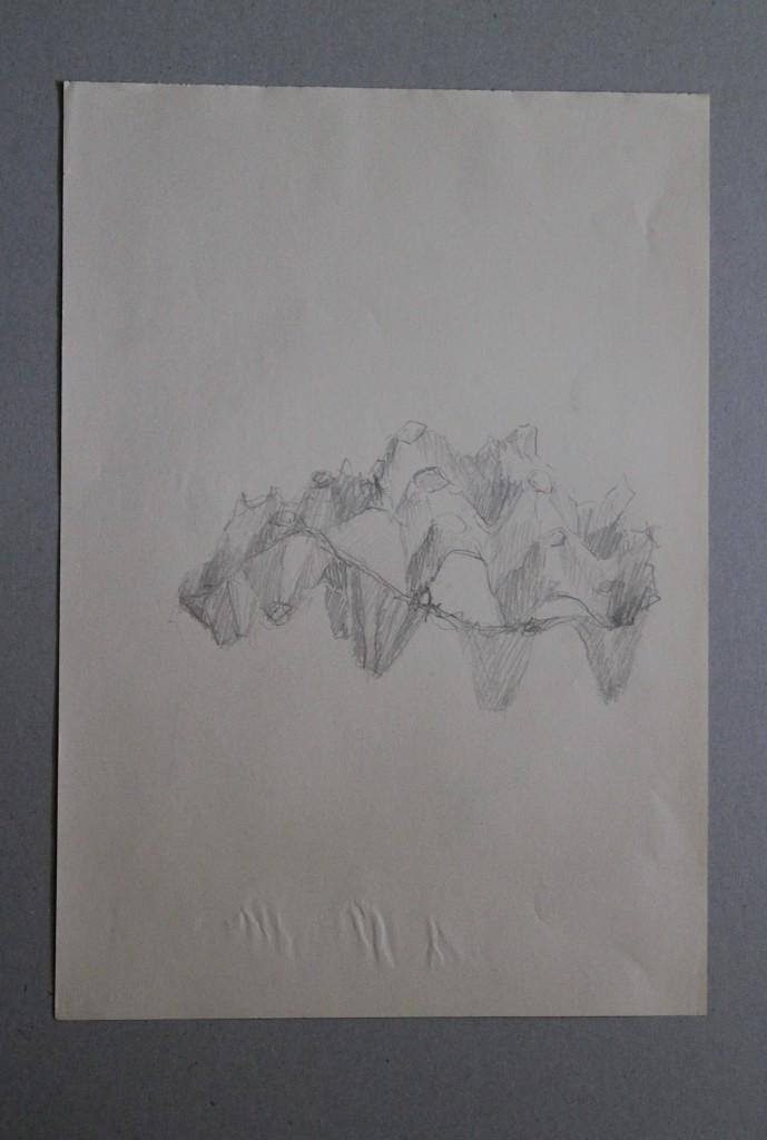 Eierkarton, Bleistift auf Papier, Anfang 80-er Jahre, 29,5 x 42