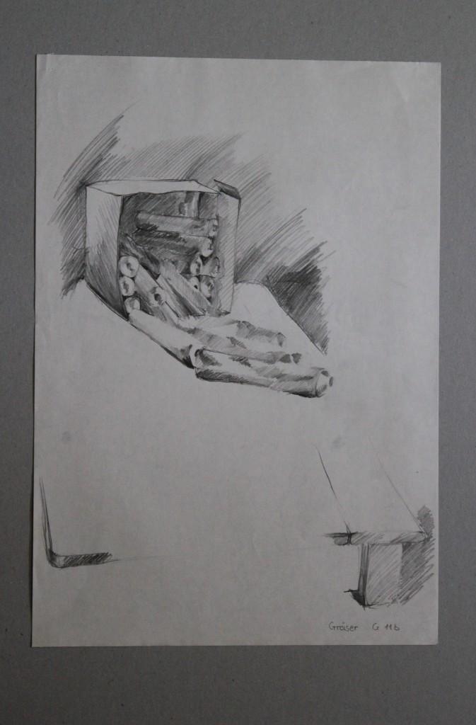 Tuben, Bleistift auf Papier, Anfang 80-er Jahre, 29,5 x 42