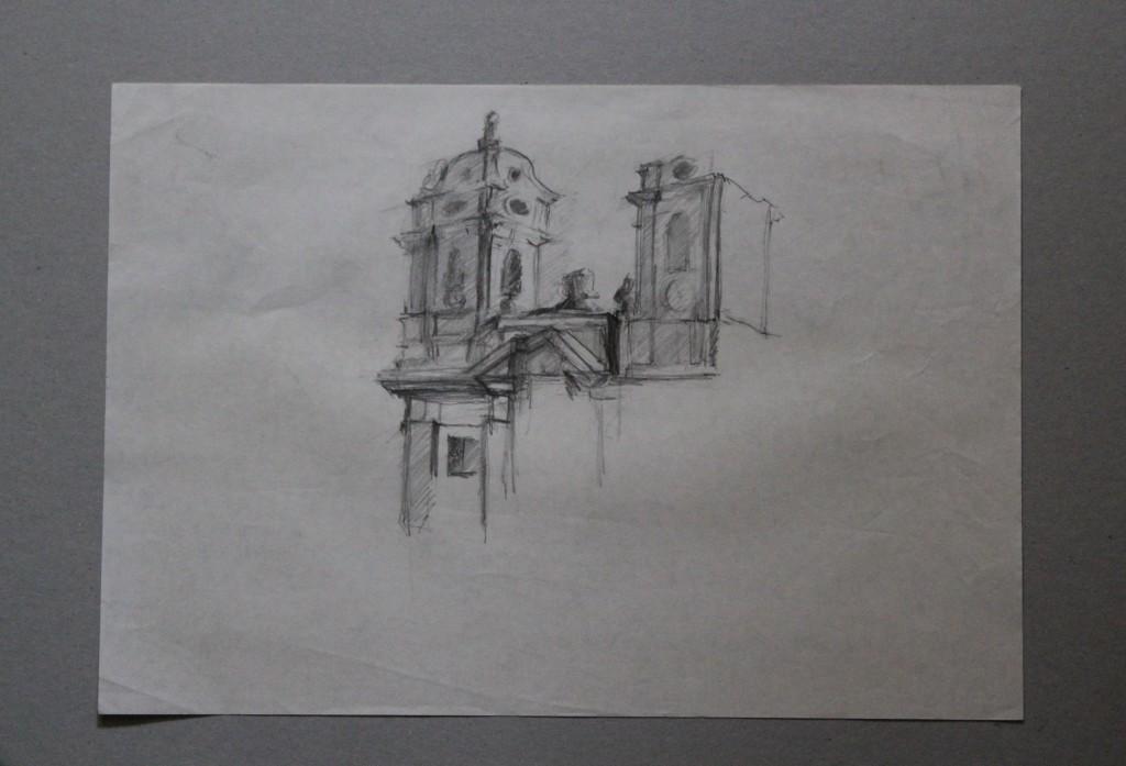 Architekturskizze, Bleistift auf Papier, Anfang 80-er Jahre, 42 x 29