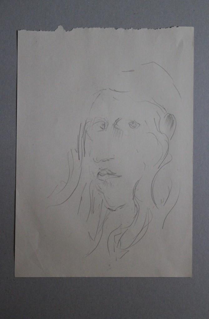 Selbstportrait, Bleistift auf Papier, Anfang 80-er Jahre, 29,5 x 42
